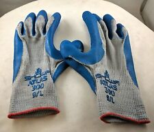 SHOWA 300L-09 Atlas Fit 300 Rubber-Coated Gloves, Large, Gray/Blue