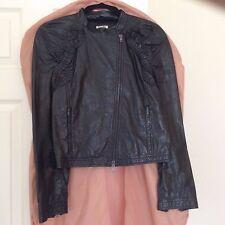 GENUINE Miu Miu Frilled Black Leather Jacket Size 44 (16) RRP £1000 BNWT!