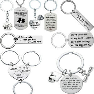 Dad Mom Daughter Son Pendant Necklace Couple Family Keyring BFF Stainless Steel