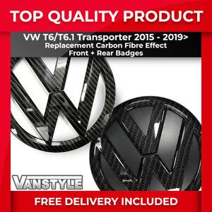 FOR VW T6 T6.1 2015> STYLE REPLACEMENT FRONT REAR CARBON FIBRE EFFECT BADGE SET
