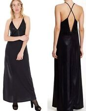 American Apparel Shiny black Metallic Strap Cross Back Long Maxi dress small