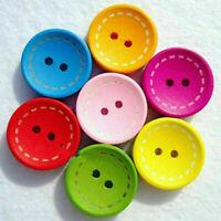 Pretty 100Pcs Mixcolor Rund 2 Löcher Holz Knopf Knöpfe Buttons 15mm Basteln Y0C9