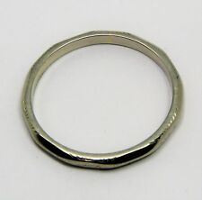 100% Genuine Vintage 18ct Solid White Gold Polygonal Band Ring Sz 8.5