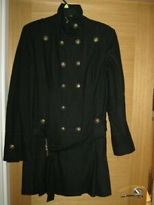 New without Tags Black Long Military Coat - Guess - Large