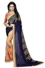 Women's Georgette Saree with Blouse Piece (Mult Color-Free Size) Free Shipping