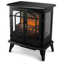 1400W Adjustable Electric Fireplace Heater Fire Flame Heat Stove Log Wood Stand