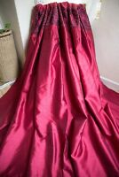 RED CURTAINS,66WX68D,MAROON,EYELET,EMBROIDERED FLORAL,SILK,SHIMMER,LINED,LONG