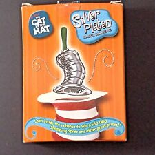 Dr Seuss Cat In The Hat Christmas Ornament Silver Plated Metal 2003 Magic Hat