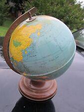 "Rare Tin 8"" Replogle Simplified World Globe ~ Made in Chicago Gustav Brueckman"