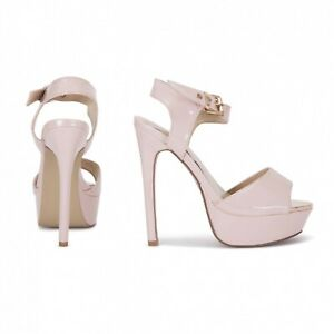 Koi Couture Nude Patent Heels Platform Gold Buckle Peep Toe Brand New In Box