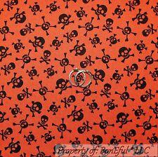 BonEful Fabric Cotton Quilt VTG Orange Skull Head Face Skeleton Cross Bone SCRAP