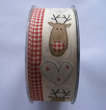 Christmas Ribbon With Reindeer Heads and White Hearts/ Gingham Edge 40mm X 1m