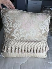 Croscill Damask Square Throw Pillow Beige Pink Gold Rope Trim Beaded Fringe