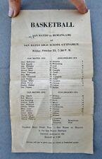 1935 Vintage High School Basketball Schedule: SAN MATEO vs. BURLINGAME, CA