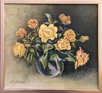 Still Life with Yellow Roses - Stil-Life - Oil Painting 36 x 39