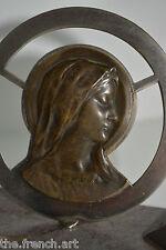 ANCIEN RELIQUAIRE VIERGE MARIE SUR MARBRE ART DECO 1930 - RELIGIEUX - CRUCIFIX