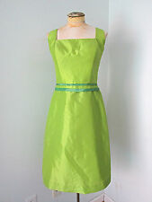 1950's vintage style bright green silky teal trim full swing skirt dress M