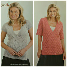 KNITTING PATTERN Ladies Lace Wrapover Sequin Jumper/Top Celeste DK Wendy 5922