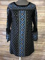 Ann Taylor LOFT Womens 3/4 Sleeves Print Shift Dress XXS Petite Black Blue 47D