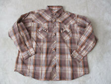 Wrangler Pearl Snap Long Sleeve Shirt Adult Extra Large Brown Orange Cowboy Mens