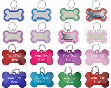 Metal Engraved Personalised Coloured Bone Dog Tags Pet ID Collar Charm Name Tags