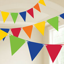 Rainbow Multi Coloured Flag Bunting Garland Party Plastic Circus Showman Banner