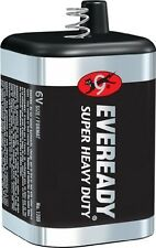 6- 6 Volt Lantern Battery Eveready 1209 Heavy Duty Spring Top + FREE CLAD BAR