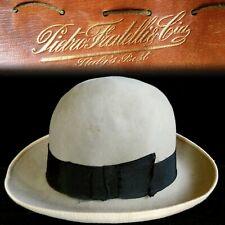 7-3/8 1930s Pietro Fratelli & Cia Italian Gray Homburg Hat Fedora