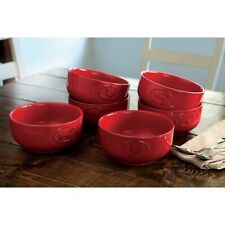 Farmhouse Stoneware Cj28027C Bowls with Antique Finish 6 Pack Red