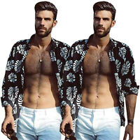 Summer Men Floral Long Sleeve Blouse Hawaiian Shirt Holiday Beach Casual T-shirt