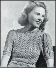 """Vintage 30s-40s Tejer patrón * señoras puente Blackberry Costilla Puntada * 31-32"""""""