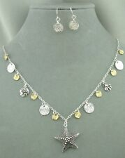 Starfish Necklace Silver Earrings Set Gold Silver Disk Fashion Jewelry NEW