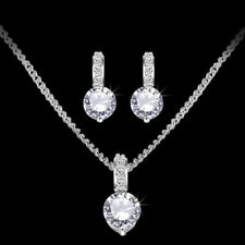 Silver Bridesmaid Crystal Necklace Earrings Jewellery Set Bridal Wedding Jewelry