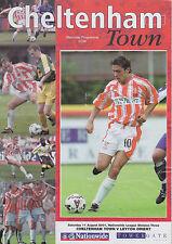 Football Programme>CHELTENHAM TOWN v LEYTON ORIENT Aug 2001