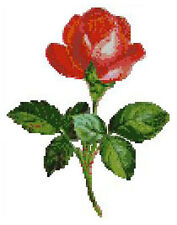 """Single Rose Red Flower Complete Counted Cross Stitch Kit 9"""" x 7"""""""