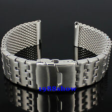 New Solid 24mm Stainless Bracelet Watch Mesh Band Diving Clasp Replacement Strap