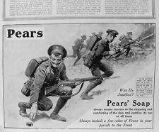 OLD ADVERT PEARS SOAP GREAT WAR SOLDIERS BATTLE FIELD c1915 VINTAGE PRINT