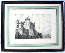 Intéressante gravure du Château de Saumur par Charles Nollet
