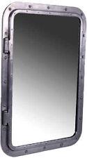 "34"" x 24"" Rectangular Aluminum Finish Wall Mount Porthole Mirror Silver Chrome"
