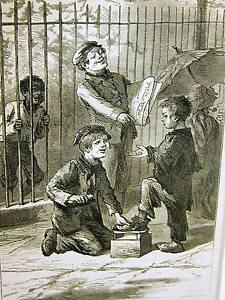 Eytinge SHOE SHINE BOY COST ONE PENNY 1870 CHILDREN Antique Art Engraving Matted