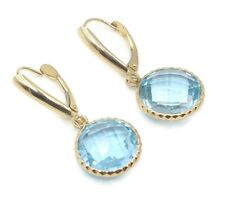 Blue Topaz Round Fancy Dangle Earrings,14K Yellow Gold Leverbacks