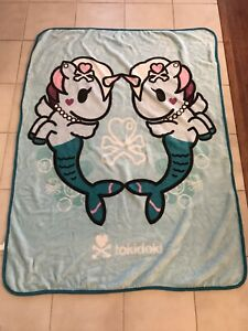 tokidoki Mermicorno Plush Throw Blanket  46x60 Unicorn Mermaids