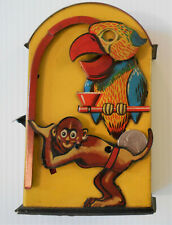 Rare Vintage Made In Germany Early 1900's MONKEY and PARROT Mechanical Tin Bank