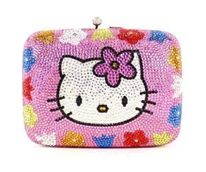 JUDITH LEIBER $1,895 NWT Pink Crystal HELLO KITTY Minaudiere Bag DAMAGED