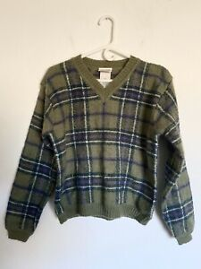 Women's Vintage Northern Reflections Knit Wool Blend V Neck Sweater Size Medium