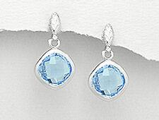 Square Dangle Earring Premium Backs 6g Sterling Silver 25mm Checkered Blue Topaz