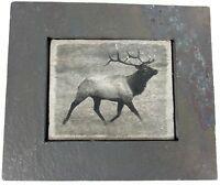 Sierra Slate Images USA Elk Grazing Stone Picture Art Framed Shlomo Shuval 8X6.5
