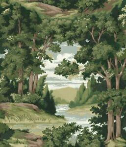 York Wallcoverings HO3301 Forest Lake Scenic Wallpaper Green Brown