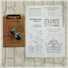 Children wedding party activity pack colouring sheets clipboard and pencils