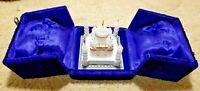 """Taj Mahal Miniature Replica Souvenir W/Blue Padded Felt Box 4.25"""" Tall Carved"""